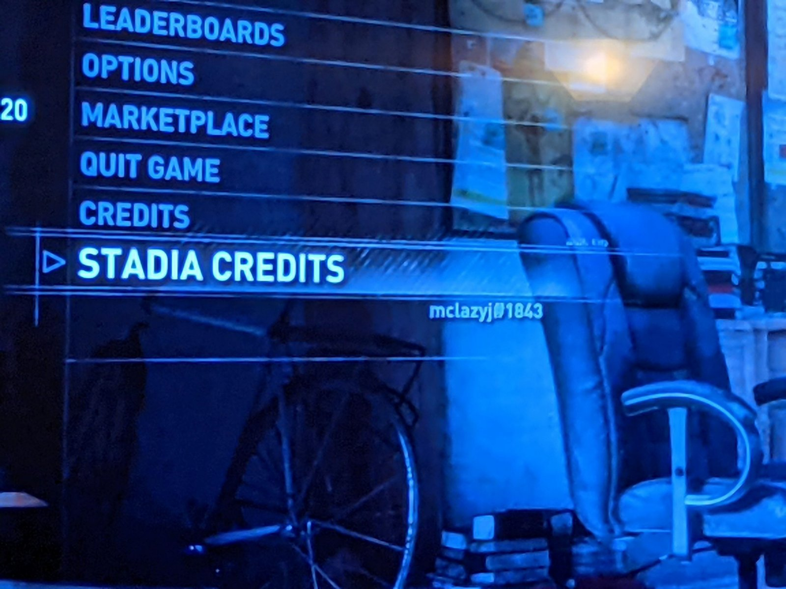Showing the Stadia Credits