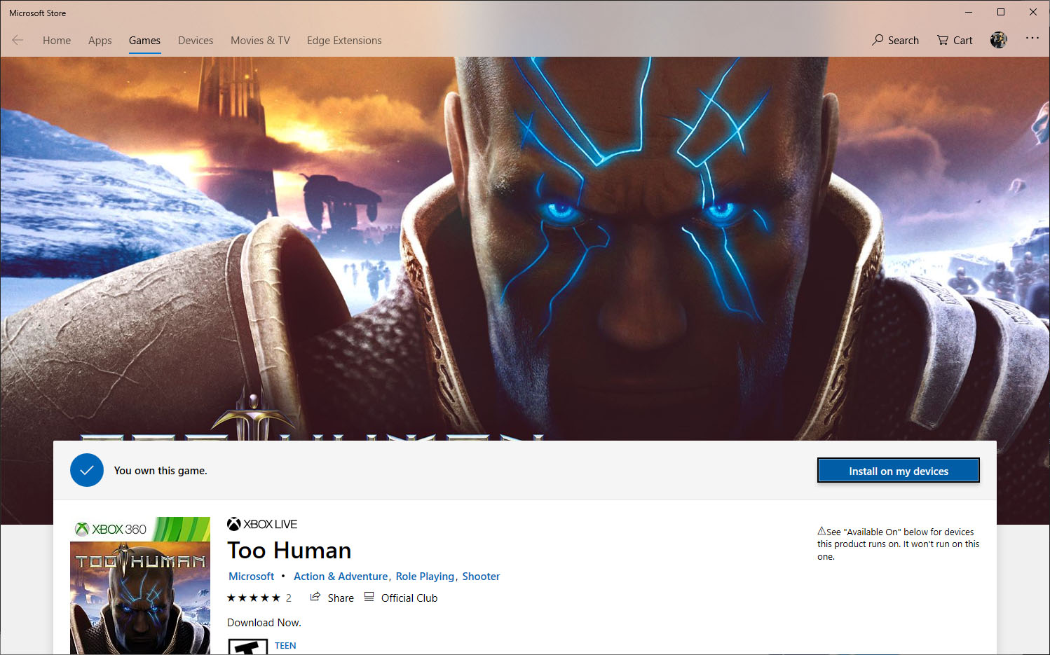 Too Human MS Store Page